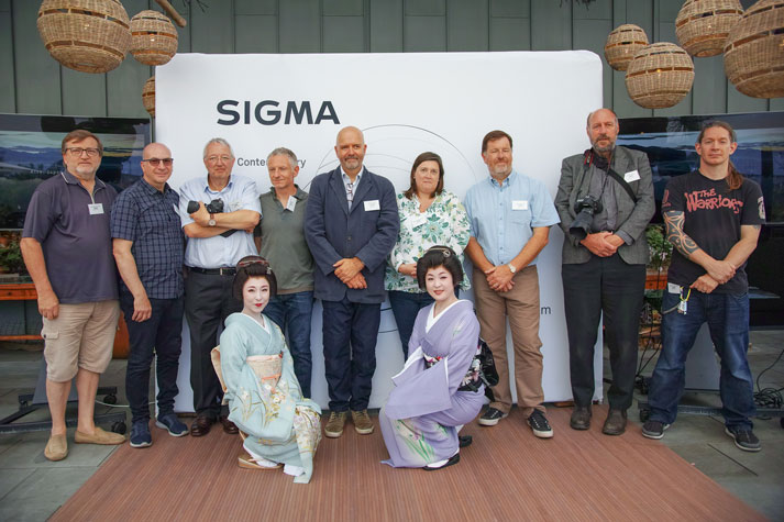 "The winning finalists of the ""Made in Aizu"" photo competition with Geoff Harris of Amateur Photographer and Paul Reynolds of Sigma Imaging (UK) Ltd. along with the Geisha's of Aizu"
