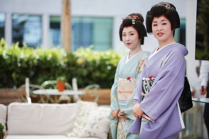 The Geisha's of Aizu wait to be formerly introduced